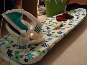 I block on an ironing board, which has unfortunately got a problem with its legs. So it's on the floor. Hooray!